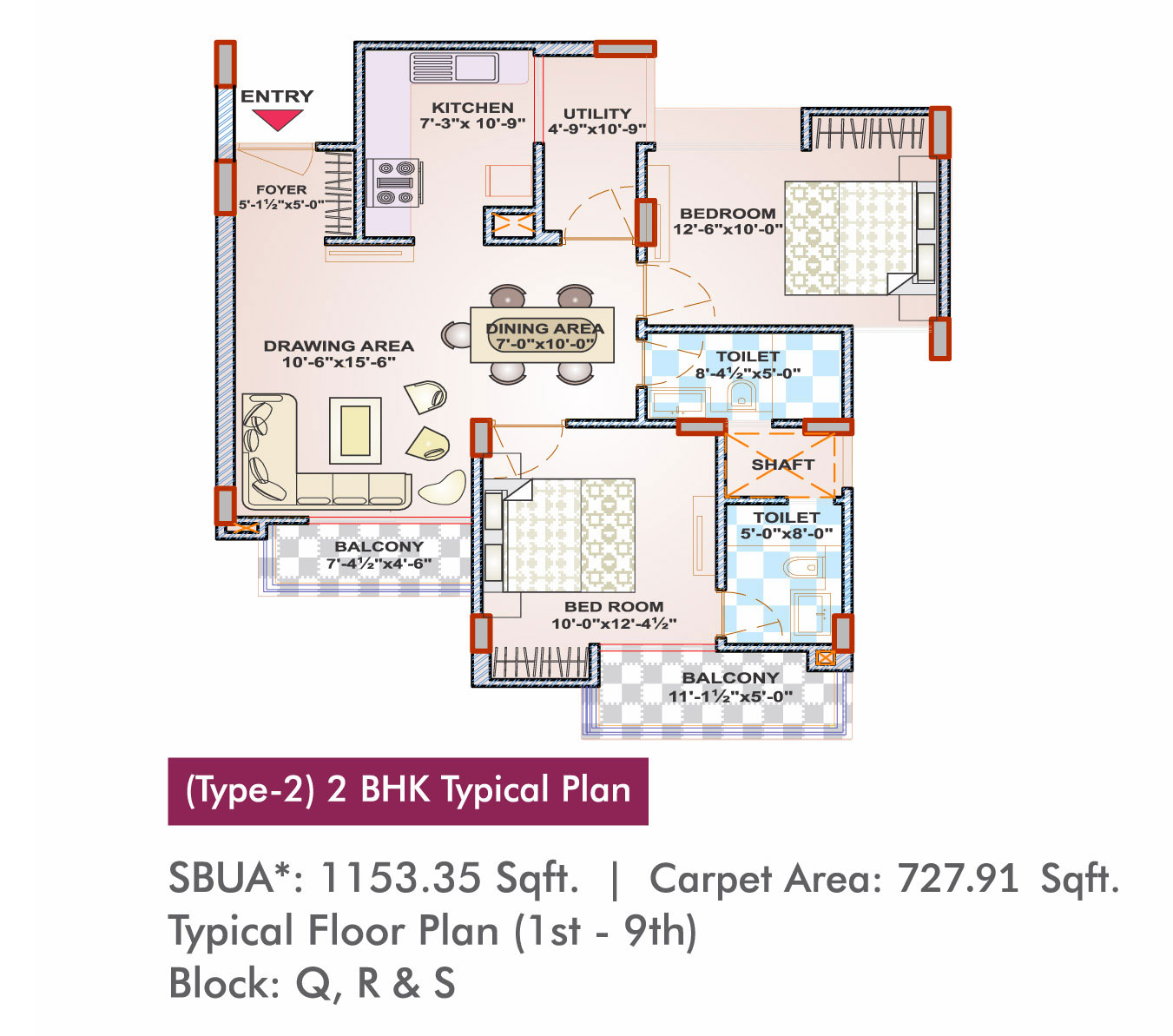 Arg Rosewood Property In Ajmer Presented By Group X12 Wiring Diagram Type 2 Bhk Typical Plan 1st 9th Block Q R S